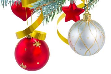 christmas decorations  hanging on fir tree
