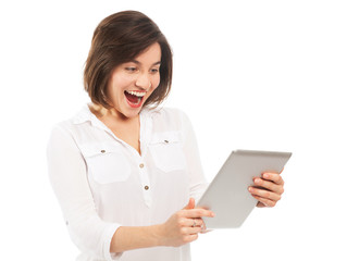 Cheerful young woman with an electronic tablet