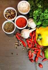 Mix of beautiful, fresh, vivid vegetables