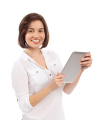 Smiling woman using an electronic tablet