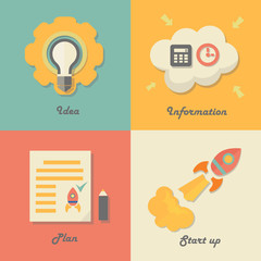Set of start up icons for new business, ideas, innovation and