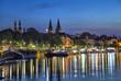 Leinwanddruck Bild - Koblenz skyline reflecting in river Moselle