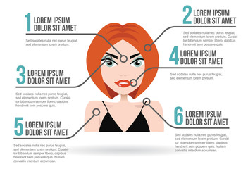 Woman face infographic, vector illustration