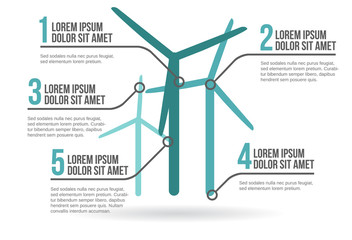 Wind turbines infographic, vector illustration