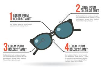 Sun glasses infographic, vector illustration