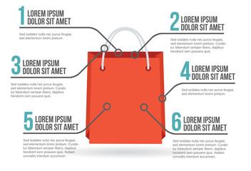 Shopping bag infographic, vector illustration