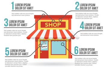 Shop building infographic, vector illustration