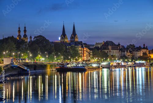Leinwanddruck Bild Koblenz skyline reflecting in river Moselle
