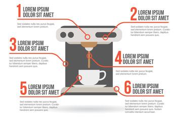 Coffee maker infographic, vector illustration
