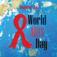 World AIDS Day poster on blue background