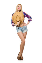 Woman cowgirl isolated on the white