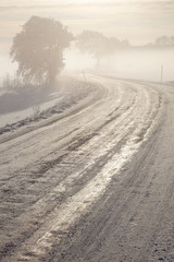 Winter icy road