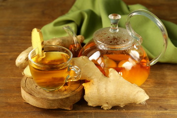 beverage tea with ginger and fresh root