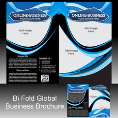 Bi Fold Global Brochure Vector illustration
