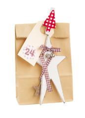 paper bag with christmas tag