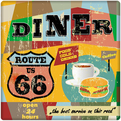 route sixty six diner sign, retro style, vector illustration