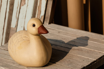 Duck statue with sunlight in the morning