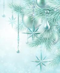 winter festive background, Christmas tree decoration
