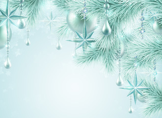 winter festive background, Christmas tree ornament