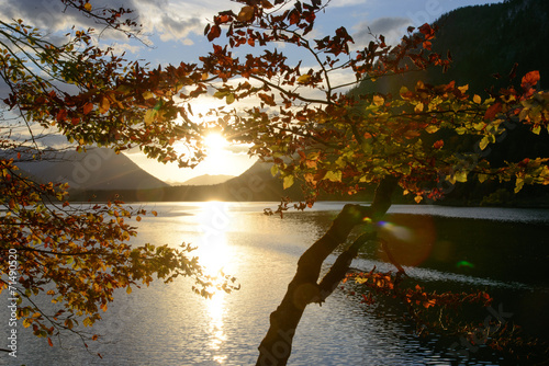 canvas print picture Herbst am See