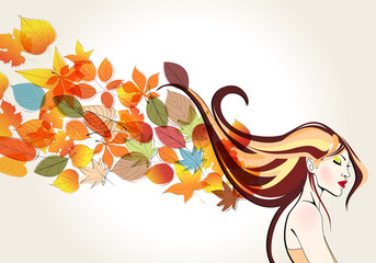 Beautiful autumn woman and leaves illustration