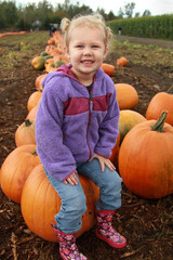Toddler Girl Sitting on a Pumpkin