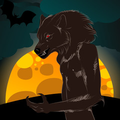 Halloween illustration with werewolf and full Moon