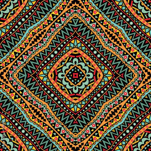 Cotton fabric Bright Tribal Seamless Pattern