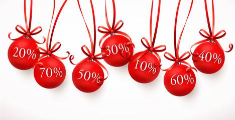 Weihnachtskugeln mit Schleifen - Rabatte