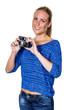 Junge Frau mit altem Fotoapparat
