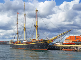 The historical ship in the harbour of Copenhagen.