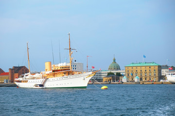 The Royal ship is in the harbour in front of Amalienborg in Cope