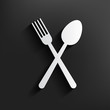 Spoon symbol on dark background,clean vector