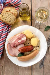 French traditional sauerkraut meal choucroute