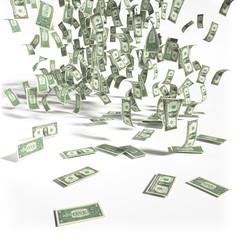 Geldregen aus 1 Dollarscheinen