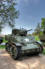 U.S. Army World War 2 Vintage M5 Stuart Light Tank.