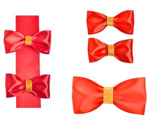 Shiny red satin bows