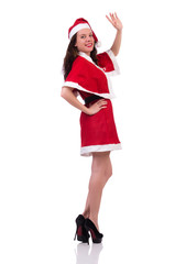 Snow girl santa in christmas concept isolated on white
