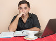 Adult education - Hispanic man studying at home