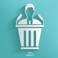 SEO speech symbol on blue background,clean vector
