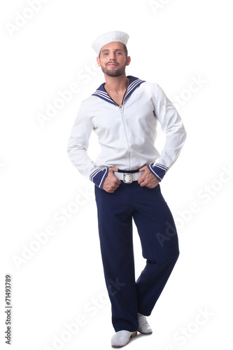 Foto op Aluminium Akt Cheerful bearded sailor isolated on white