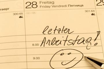 Kalendernotiz, letzter Arbeitstag