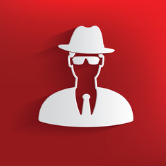 Spy symbol on red background,clean vector