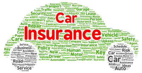 Car insurance word cloud shape