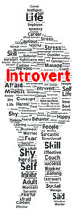 Introvert word cloud shape