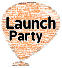 Launch party word cloud shape