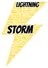 Lightning storm word cloud shape