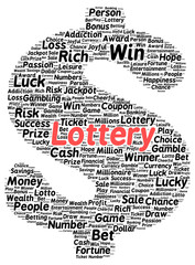 Lottery word cloud shape