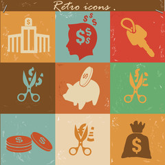 Money and financial icons,vintage vector