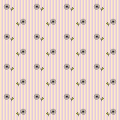 Floral Seamless Pattern on a Striped Background